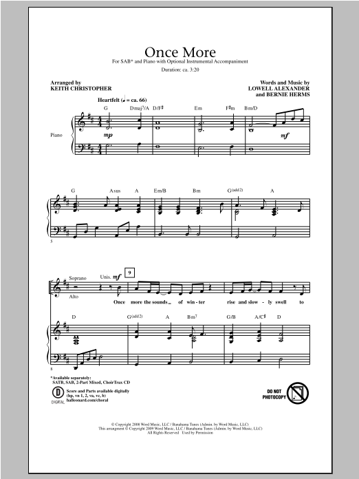 Keith Christopher Once More sheet music notes and chords. Download Printable PDF.