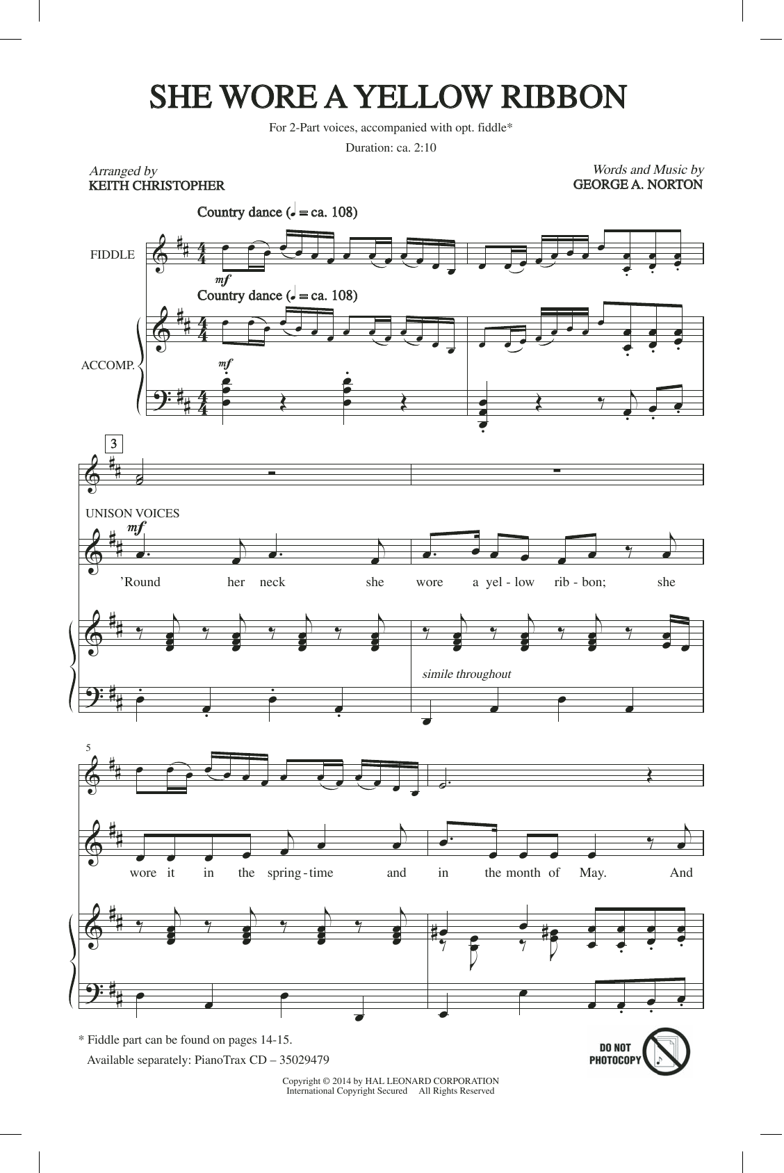 Keith Christopher She Wore A Yellow Ribbon sheet music notes and chords. Download Printable PDF.
