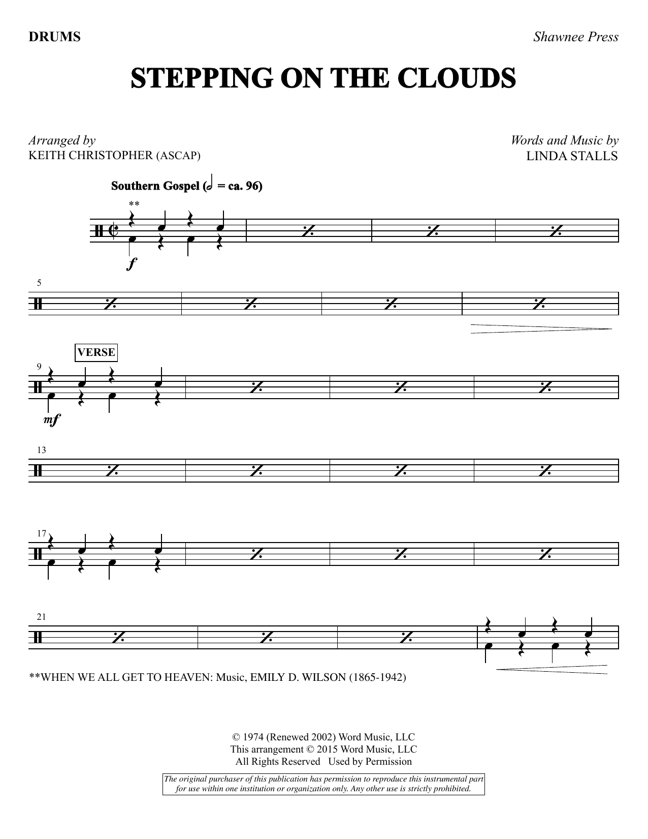 Keith Christopher Stepping on the Clouds - Drums sheet music notes and chords. Download Printable PDF.