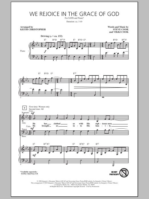 Keith Christopher We Rejoice In The Grace Of God sheet music notes and chords