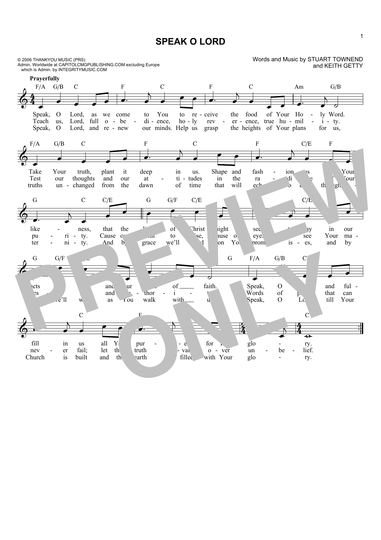 Keith Getty Speak O Lord sheet music notes and chords. Download Printable PDF.