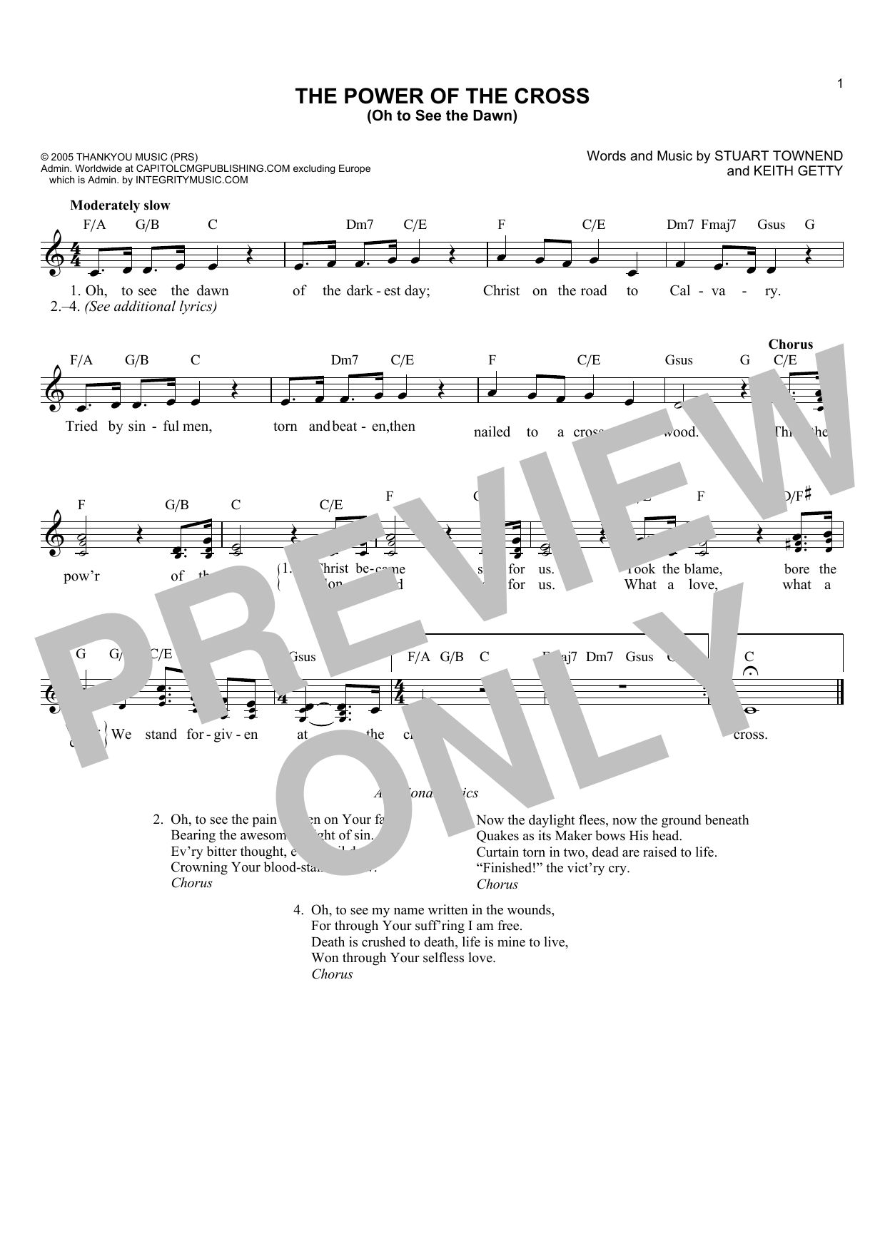 Keith Getty The Power Of The Cross Oh To See The Dawn Sheet Music Notes,  Chords   Download Printable Lead Sheet / Fake Book PDF Score   SKU 15