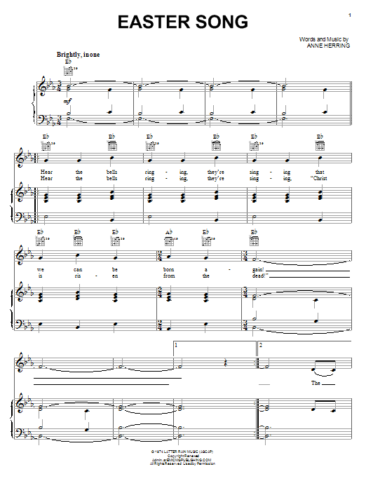 Keith Green Easter Song Sheet Music Pdf Notes Chords Pop Score Piano Vocal Guitar Right Hand Melody Download Printable Sku 64585