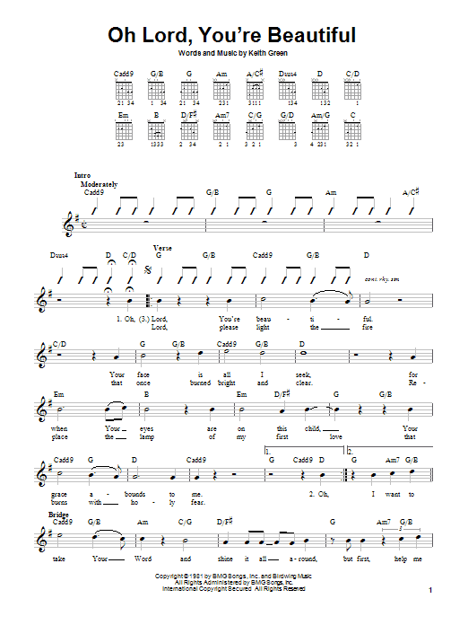 Keith Green Oh Lord, You're Beautiful sheet music notes and chords. Download Printable PDF.