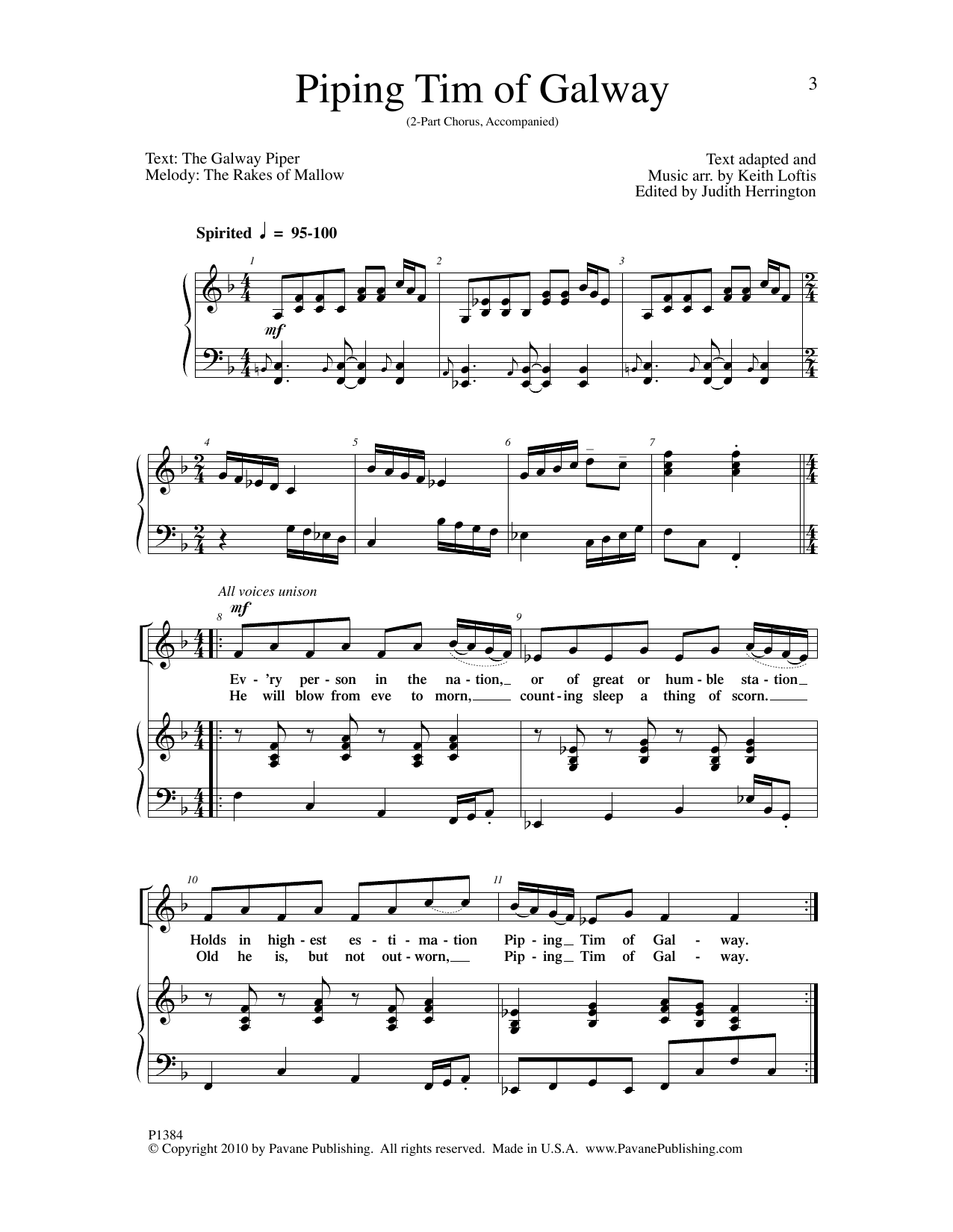 Keith Loftis Piping Tim of Galway sheet music notes and chords. Download Printable PDF.