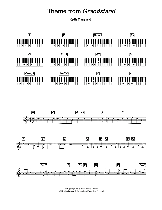 Keith Mansfield Theme from Grandstand sheet music notes and chords. Download Printable PDF.