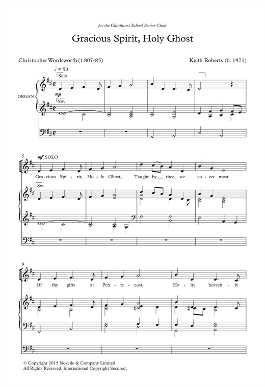 Keith Roberts Gracious Spirit, Holy Ghost sheet music notes and chords