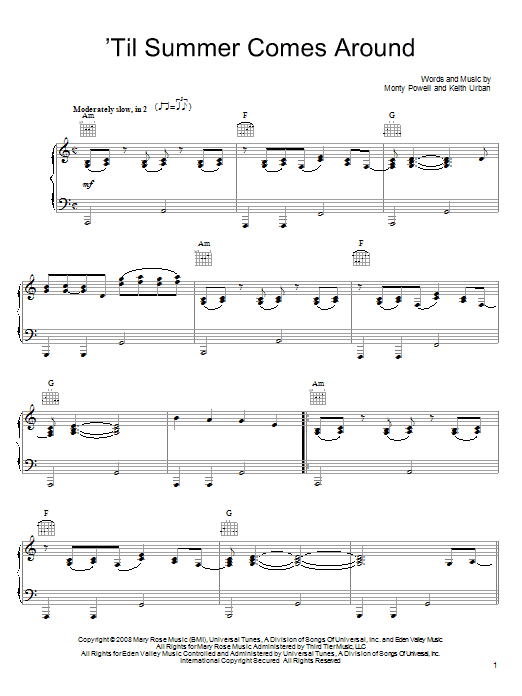 Keith Urban 'Til Summer Comes Around sheet music notes and chords. Download Printable PDF.