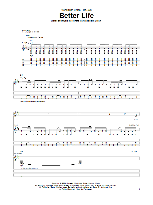 Keith Urban Better Life sheet music notes and chords. Download Printable PDF.