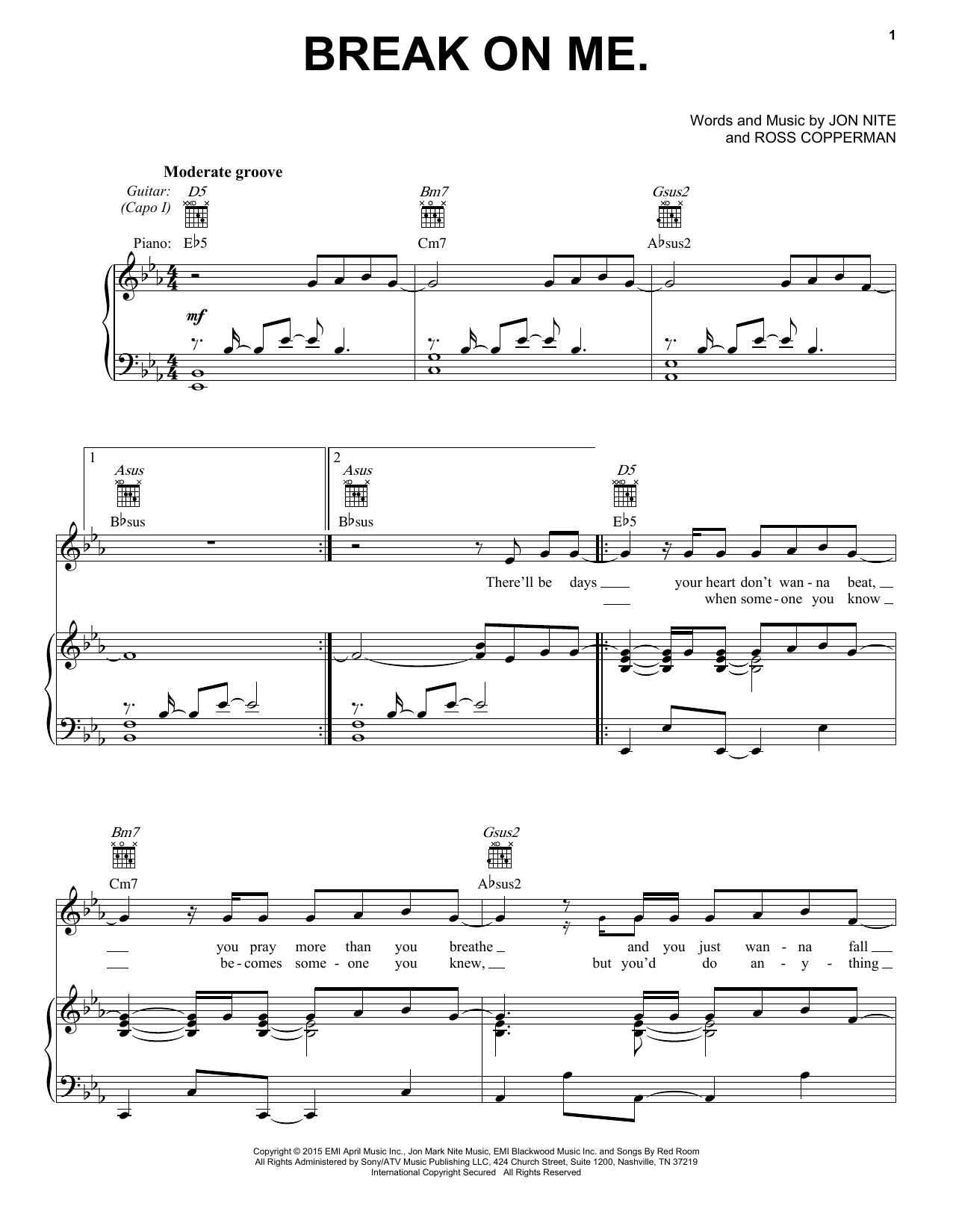 Keith Urban Break On Me sheet music notes and chords. Download Printable PDF.