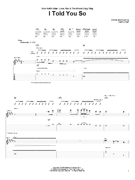 Keith Urban I Told You So sheet music notes and chords