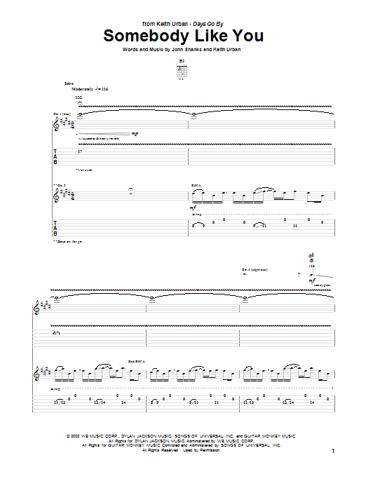 Keith Urban Somebody Like You sheet music notes and chords. Download Printable PDF.