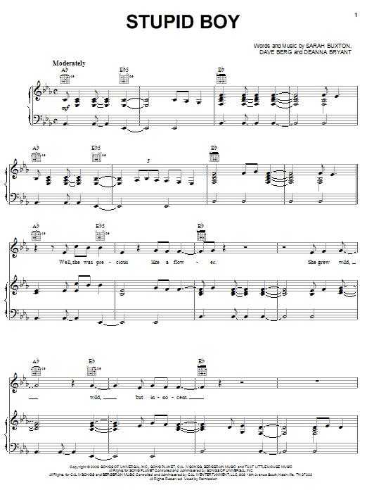 Keith Urban Stupid Boy sheet music notes and chords. Download Printable PDF.