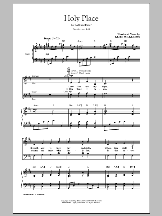 Keith Wilkerson Holy Place sheet music notes and chords. Download Printable PDF.