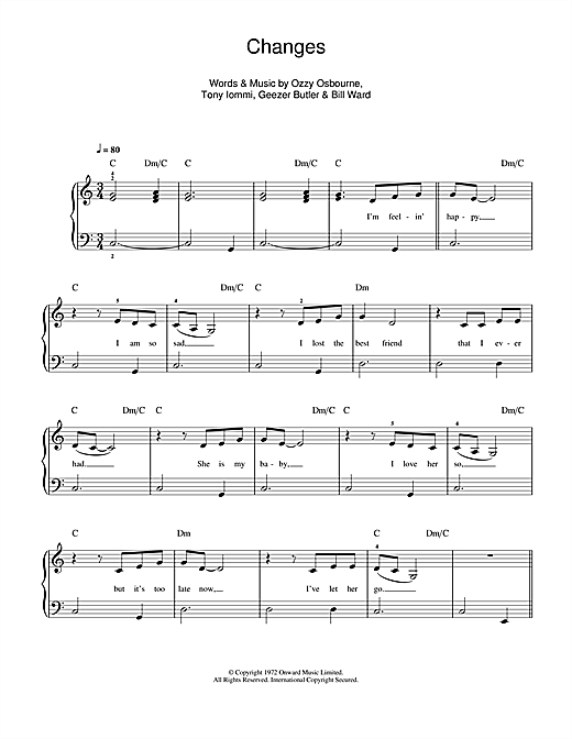 Kelly & Ozzy Osbourne Changes sheet music notes and chords