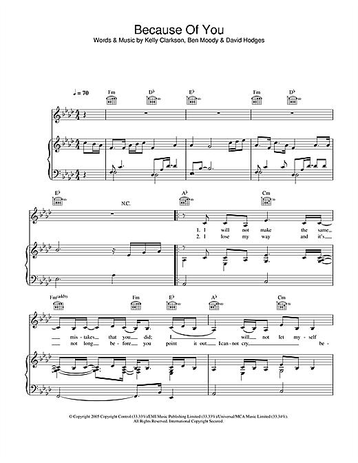 Kelly Clarkson 'Because Of You' Sheet Music Notes, Chords | Download  Printable Keyboard (Abridged) - SKU: 109039