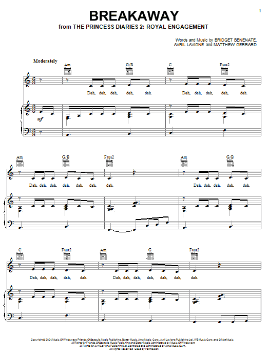Kelly Clarkson Breakaway sheet music notes and chords. Download Printable PDF.