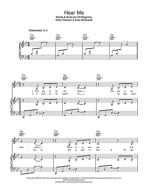 Kelly Clarkson Hear Me sheet music notes and chords. Download Printable PDF.