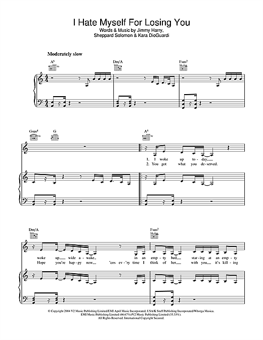 Kelly Clarkson I Hate Myself For Losing You sheet music notes and chords. Download Printable PDF.