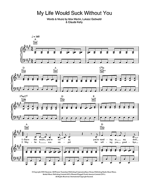Kelly Clarkson My Life Would Suck Without You sheet music notes and chords. Download Printable PDF.