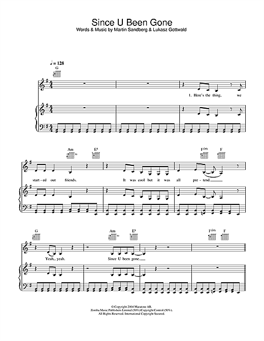 Kelly Clarkson Since U Been Gone sheet music notes and chords. Download Printable PDF.