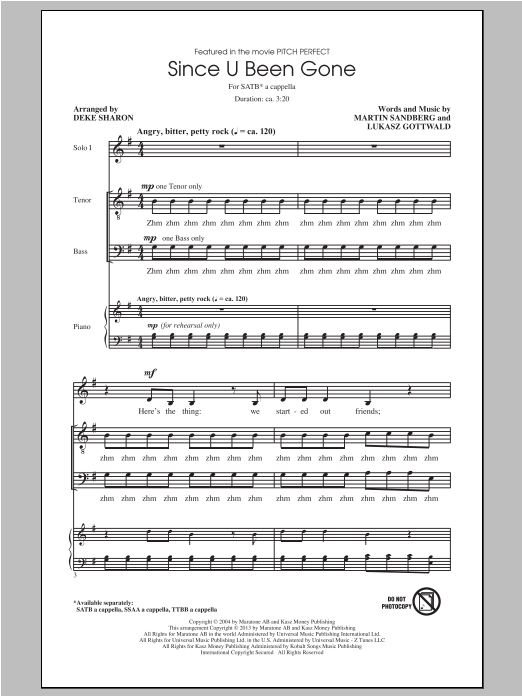Kelly Clarkson Since U Been Gone (as performed in Pitch Perfect) (arr. Deke Sharon) sheet music notes and chords. Download Printable PDF.