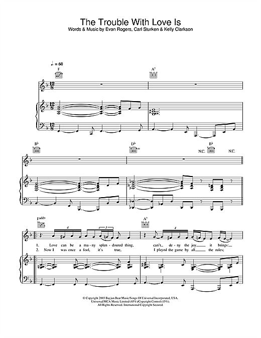 Kelly Clarkson The Trouble With Love Is sheet music notes and chords. Download Printable PDF.
