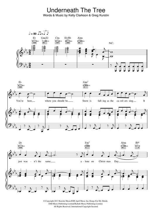 Kelly Clarkson Underneath The Tree sheet music notes and chords. Download Printable PDF.