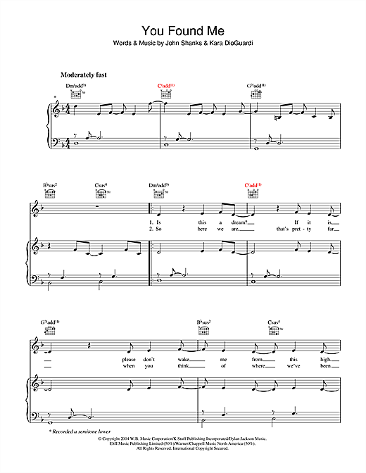Kelly Clarkson You Found Me sheet music notes and chords. Download Printable PDF.