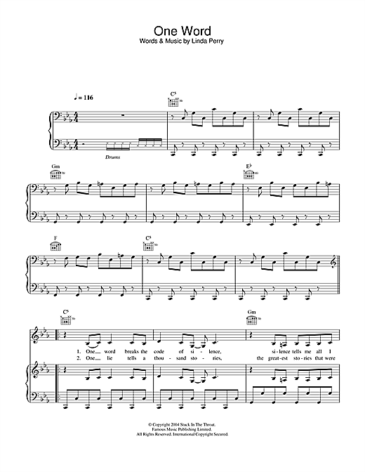 Kelly Osbourne One Word sheet music notes and chords. Download Printable PDF.