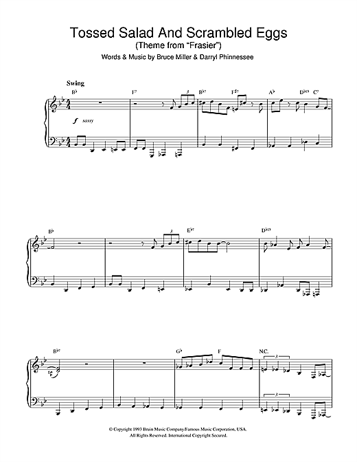 Kelsey Grammer Tossed Salad And Scrambled Eggs (theme from Frasier) sheet music notes and chords