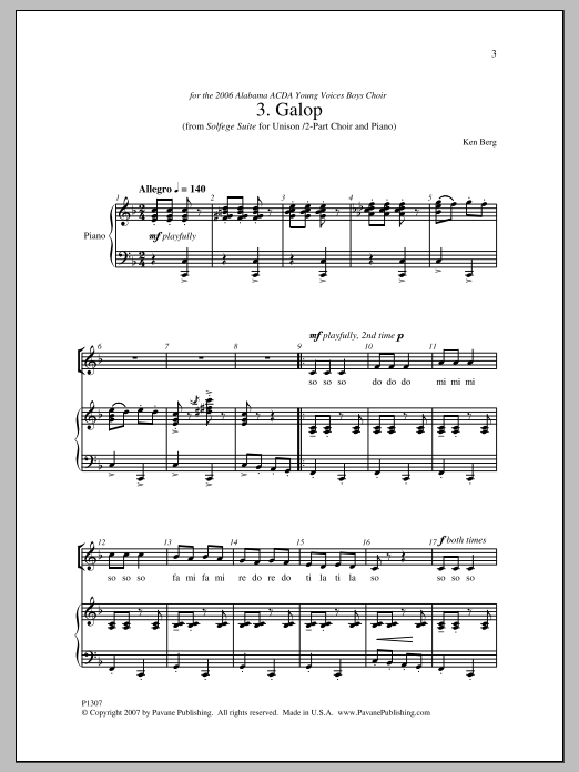 Ken Berg Galop sheet music notes and chords. Download Printable PDF.