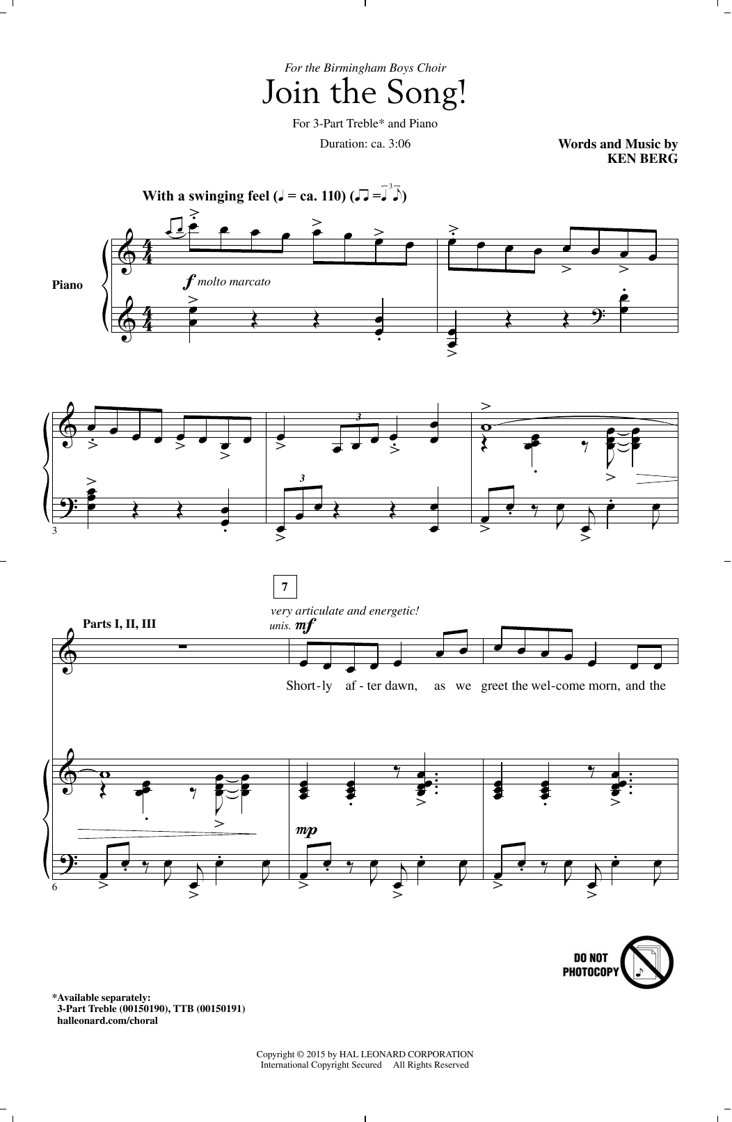 Ken Berg Join The Song! sheet music notes and chords. Download Printable PDF.