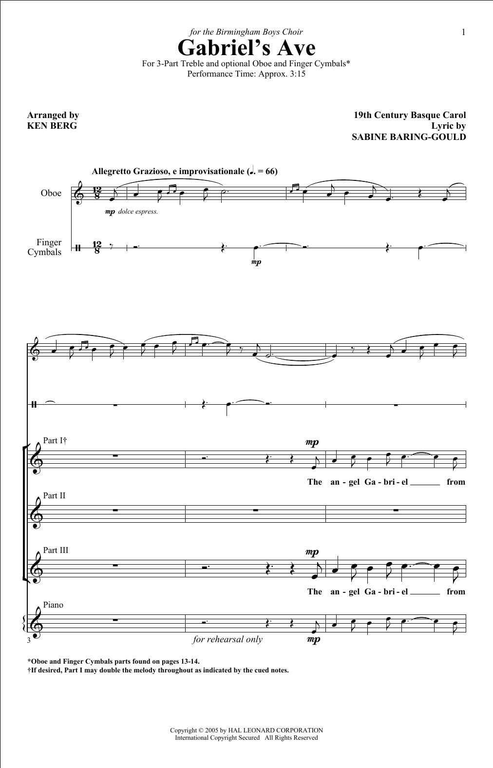 Ken Berg The Angel Gabriel sheet music notes and chords. Download Printable PDF.