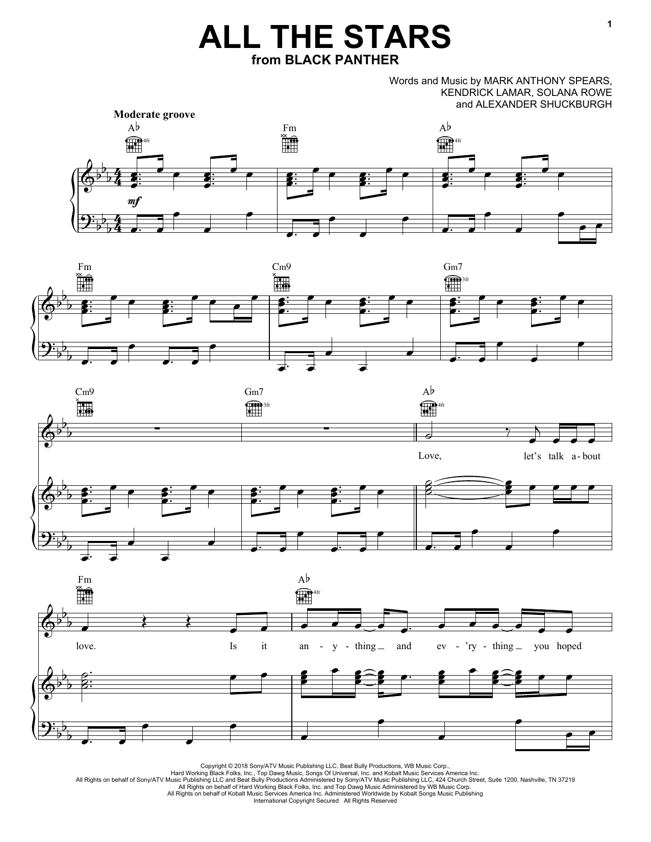 Kendrick Lamar and SZA All The Stars sheet music notes and chords. Download Printable PDF.