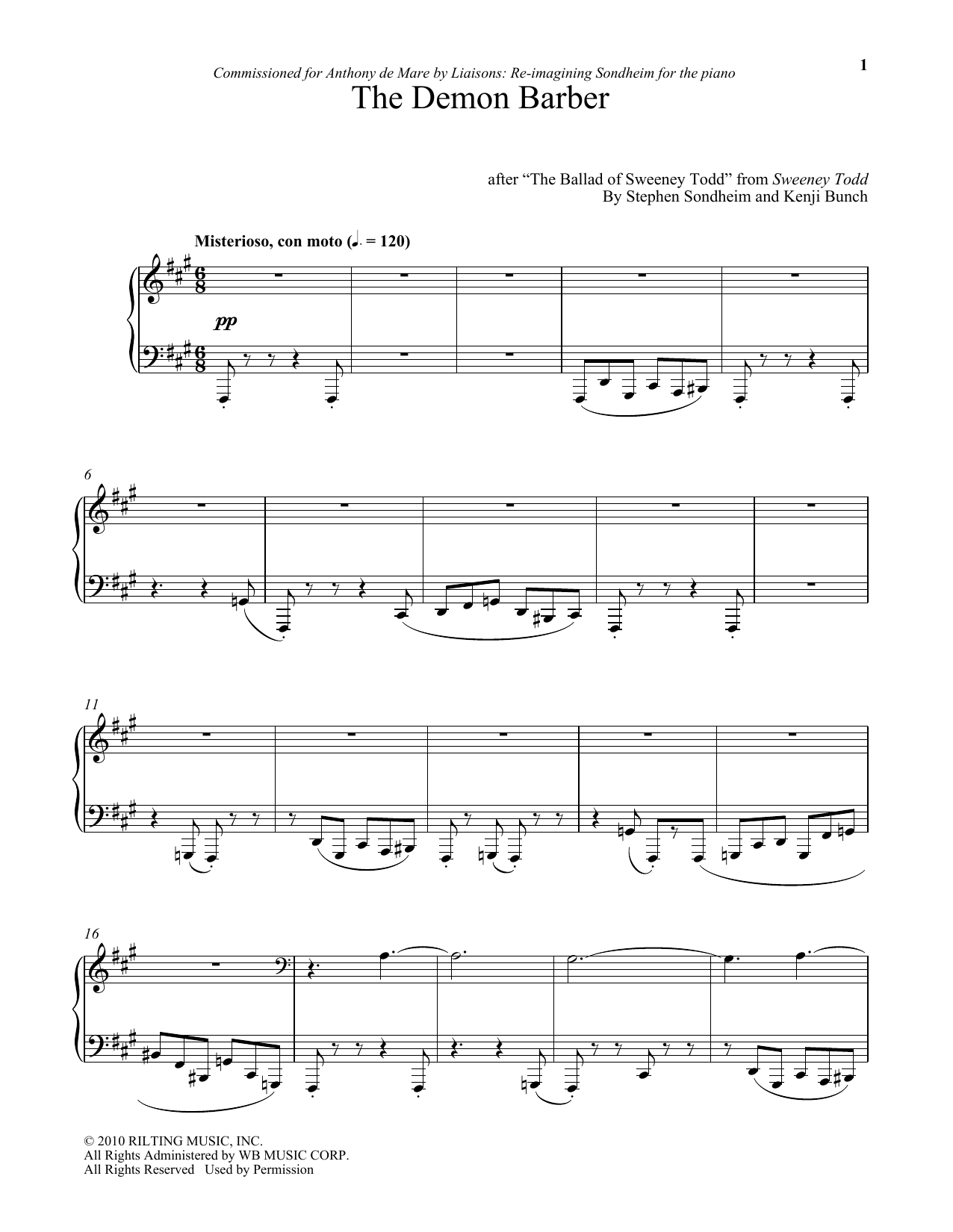 Stephen Sondheim The Demon Barber (arr. Kenji Bunch) sheet music notes and chords. Download Printable PDF.