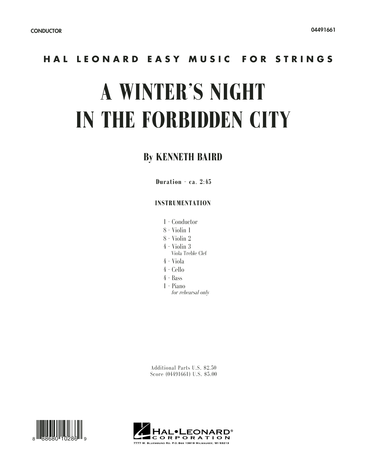 Kenneth Baird A Winter's Night in the Forbidden City - Conductor Score (Full Score) sheet music notes and chords. Download Printable PDF.