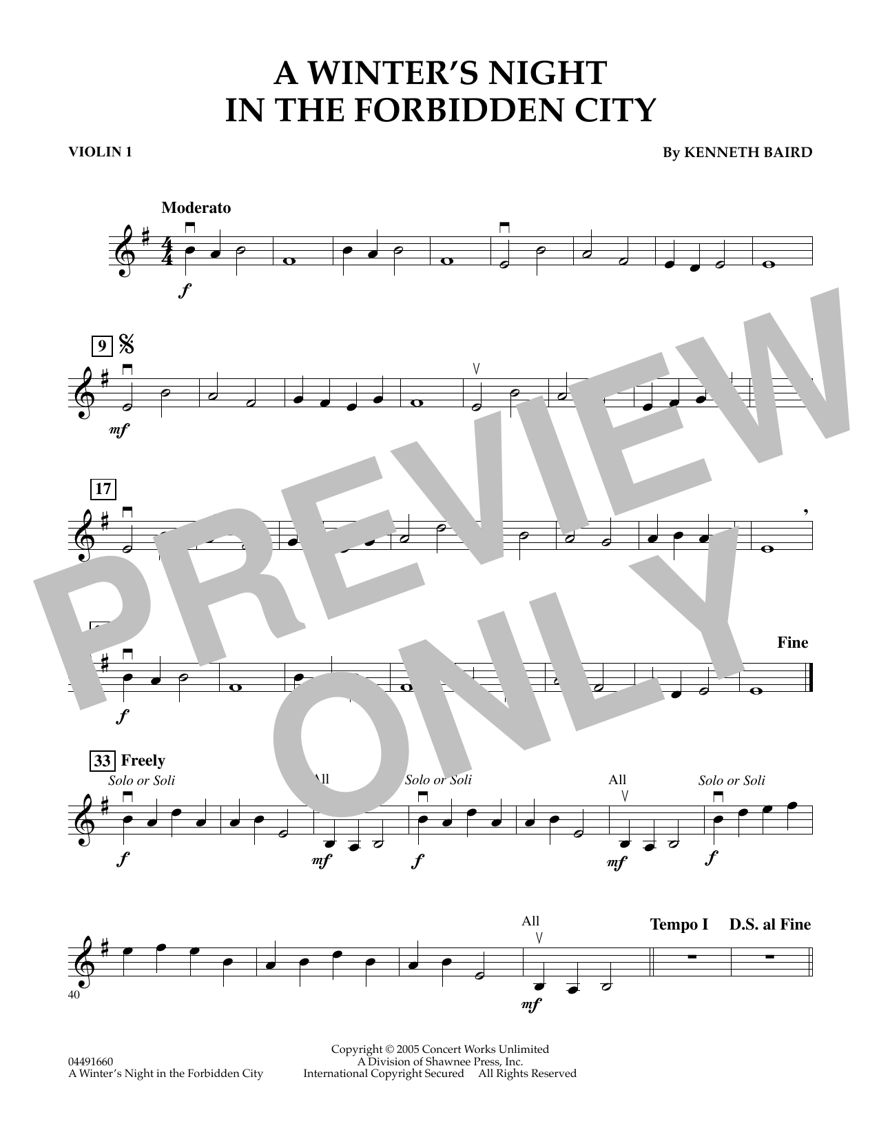 Kenneth Baird A Winter's Night in the Forbidden City - Violin 1 sheet music notes and chords. Download Printable PDF.