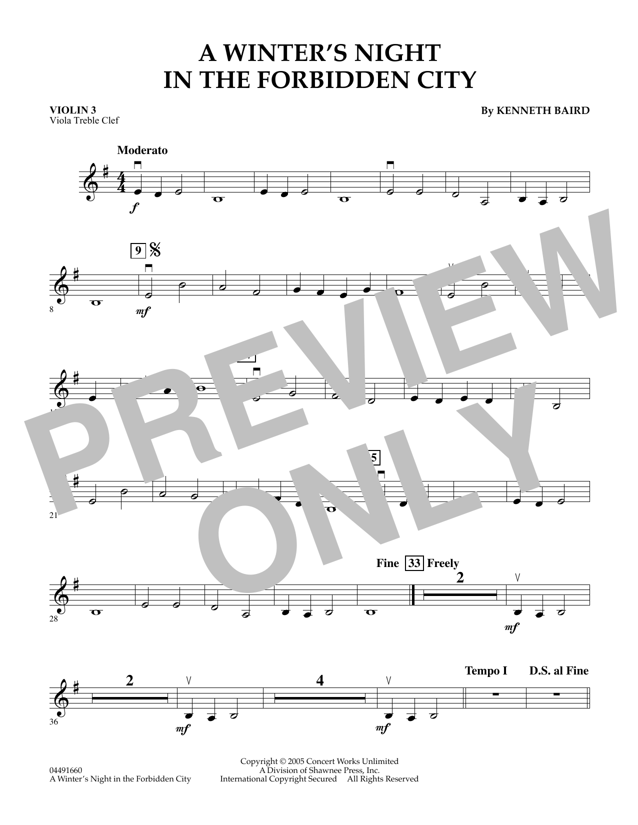 Kenneth Baird A Winter's Night in the Forbidden City - Violin 3 (Viola Treble Clef) sheet music notes and chords. Download Printable PDF.