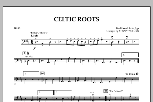 Kenneth Baird Celtic Roots - Bass sheet music notes and chords. Download Printable PDF.