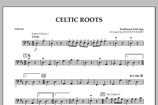 Kenneth Baird Celtic Roots - Cello sheet music notes and chords. Download Printable PDF.