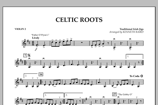 Kenneth Baird Celtic Roots - Violin 2 sheet music notes and chords. Download Printable PDF.