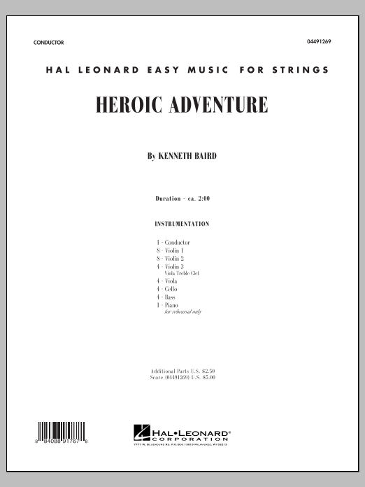 Kenneth Baird Heroic Adventure - Conductor Score (Full Score) sheet music notes and chords. Download Printable PDF.