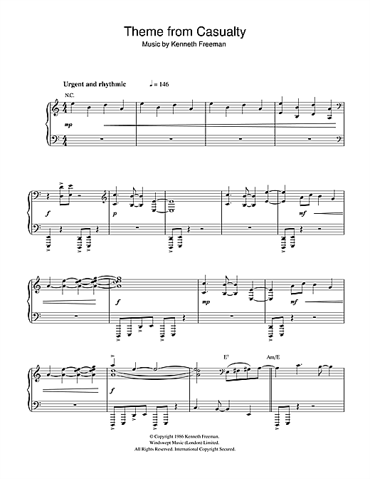 Kenneth Freeman Theme from Casualty sheet music notes and chords. Download Printable PDF.