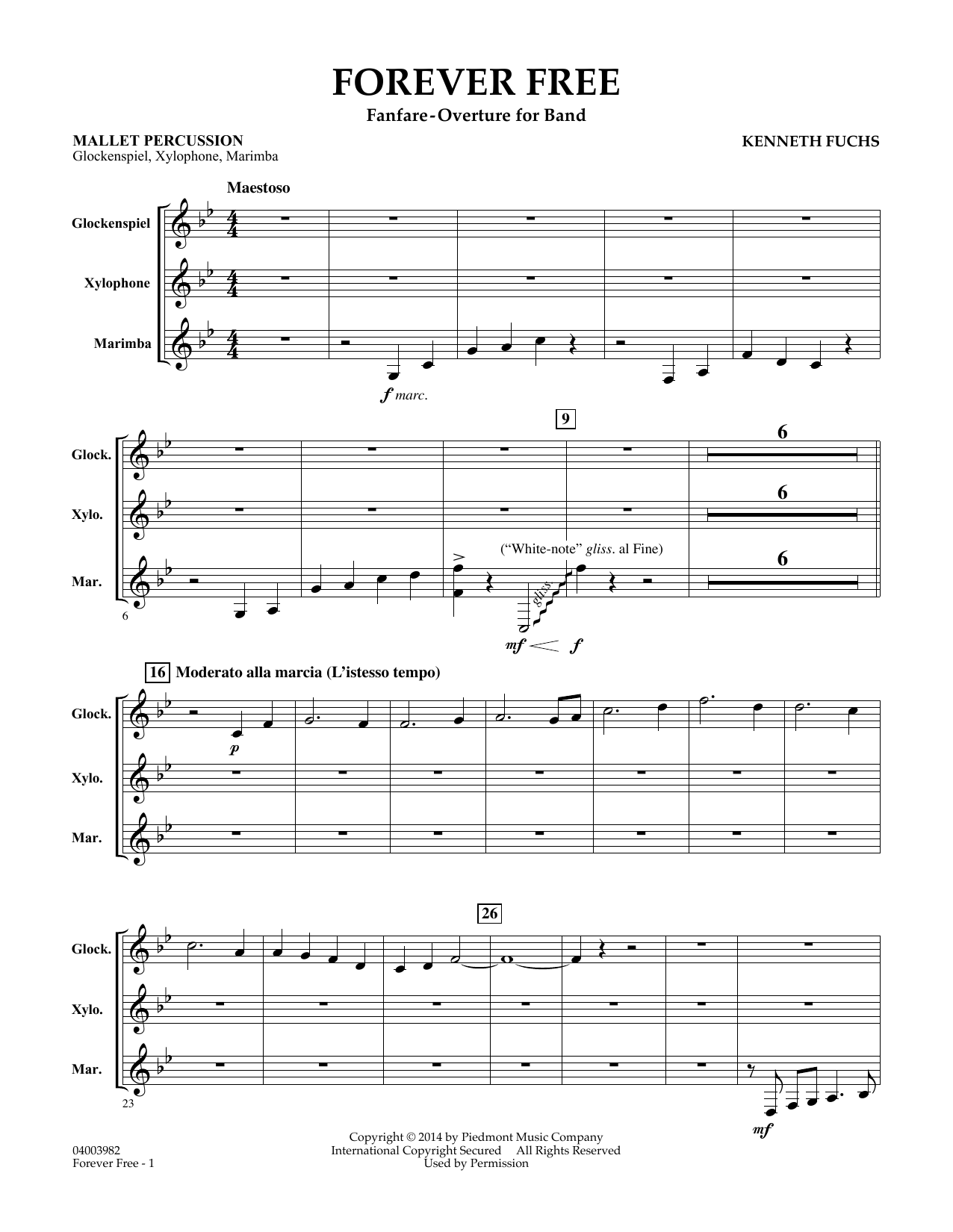Kenneth Fuchs Forever Free - Mallet Percussion sheet music notes and chords. Download Printable PDF.