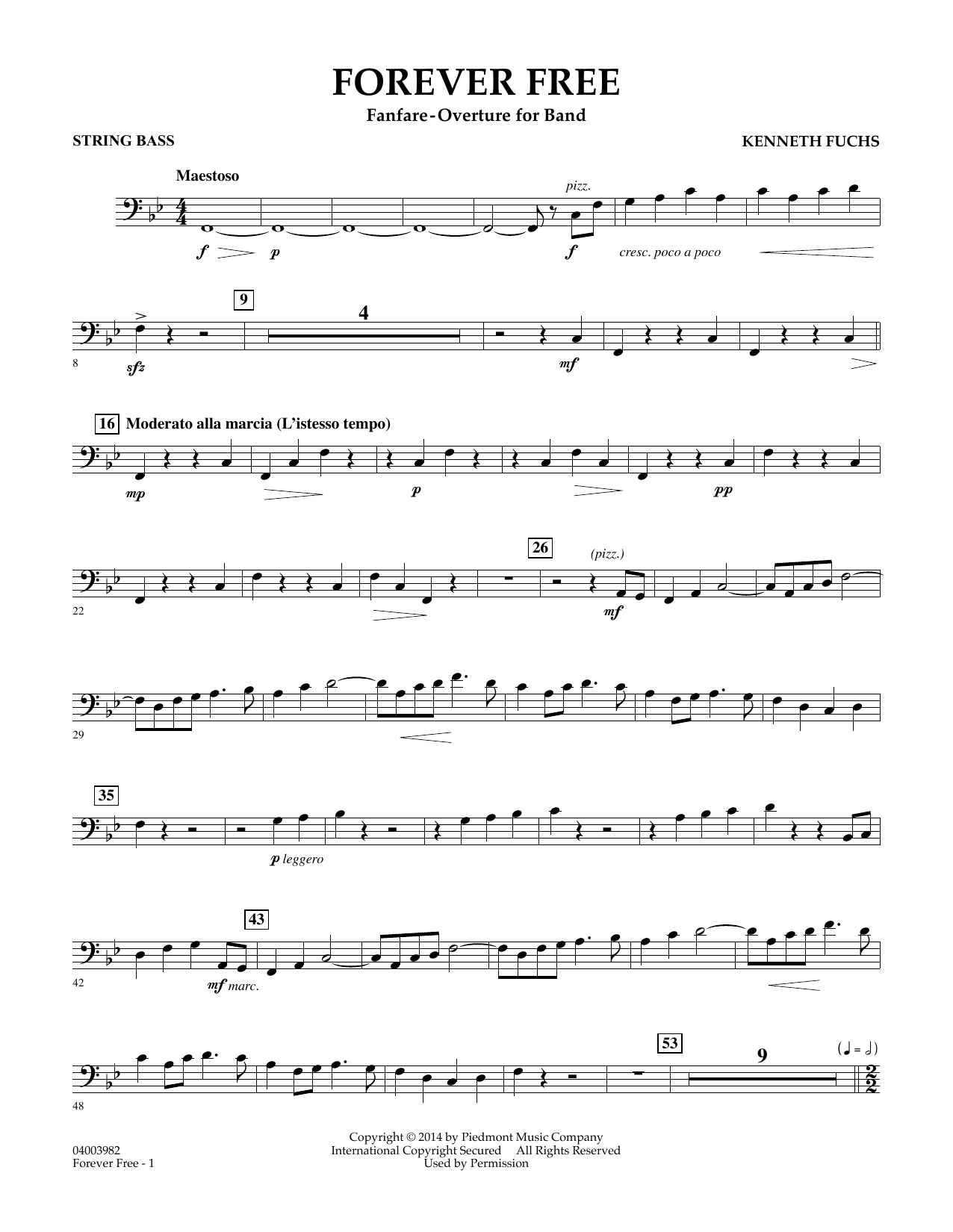Kenneth Fuchs Forever Free - String Bass sheet music notes and chords. Download Printable PDF.