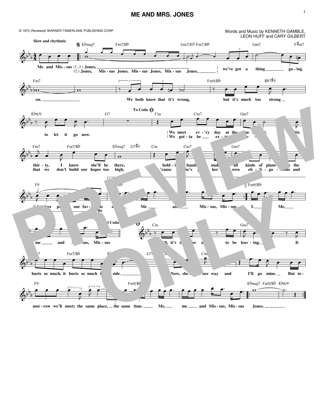 Kenneth Gamble Me And Mrs. Jones sheet music notes and chords. Download Printable PDF.