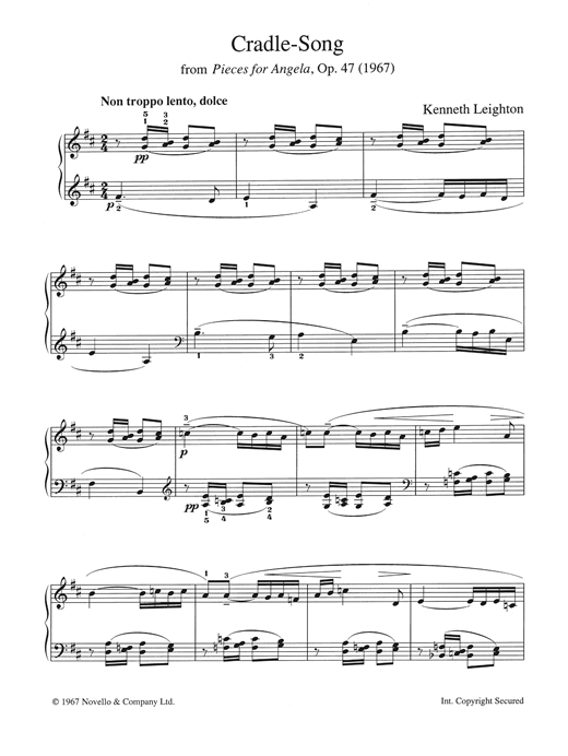 Kenneth Leighton Cradle Song (from Pieces For Angela, Opus 47) sheet music notes and chords. Download Printable PDF.