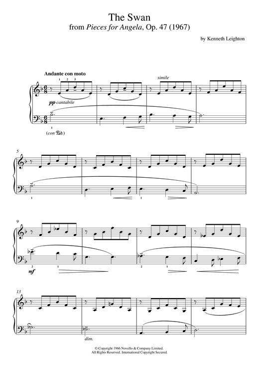 Kenneth Leighton The Swan (From Pieces For Angela) sheet music notes and chords