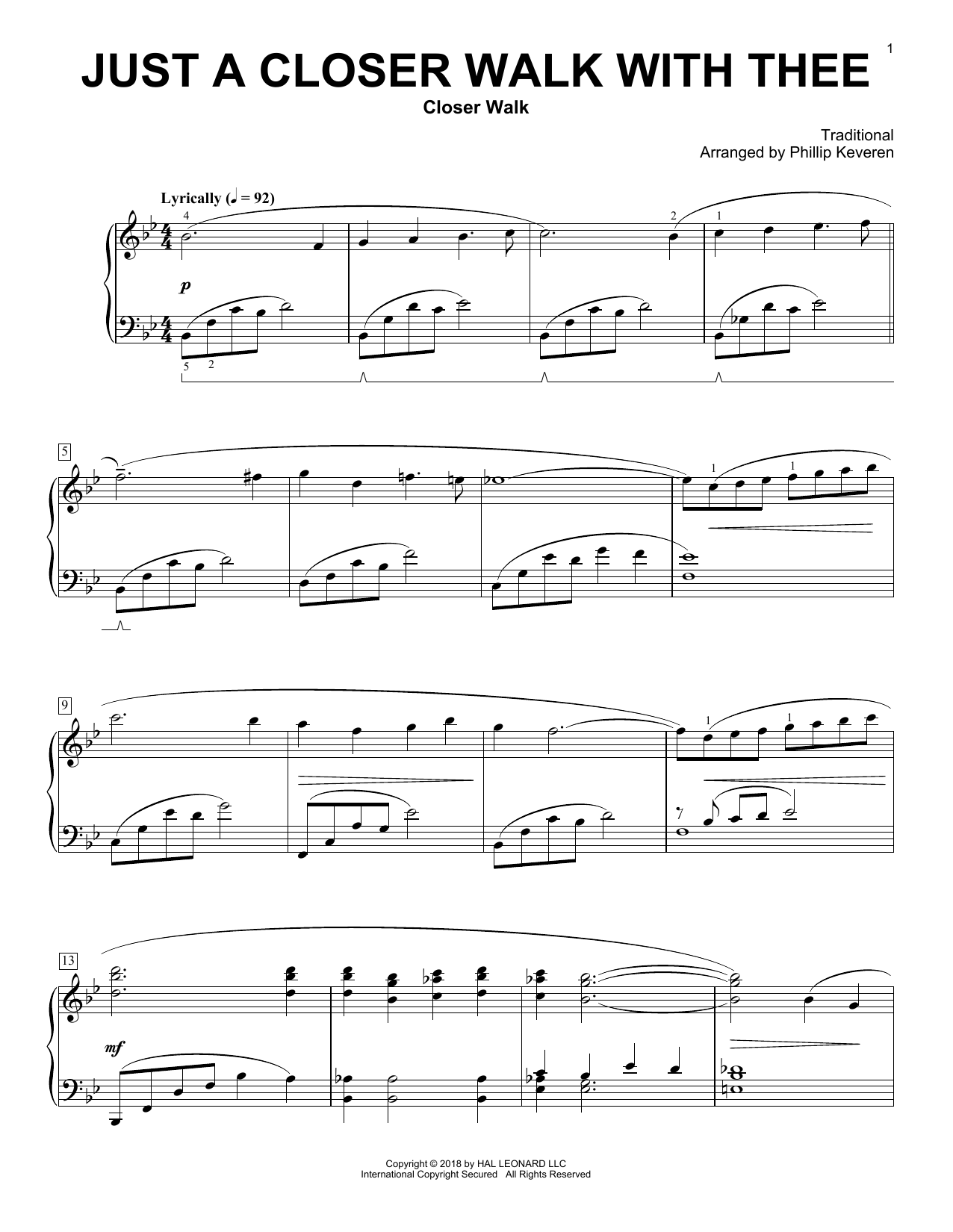 Kenneth Morris Just A Closer Walk With Thee [Classical version] (arr. Phillip Keveren) sheet music notes and chords. Download Printable PDF.